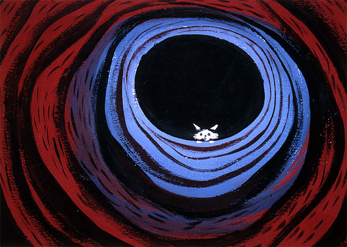 Image of small animal seen against a night sky as if from the bottom of a deep, somewhat surreal hole